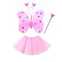 Lovely Baby Girl Clothes 4pcs Girls Tulle Tutu Skirt Fairy Butterfly Wing With Wand And Cute Headband Sets Princess Pettiskirts