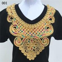 Golden/Black Collar Venise Sequin Floral Embroidered Lace Applique Trim Decorated Neckline Sewing 6 pcs/lot