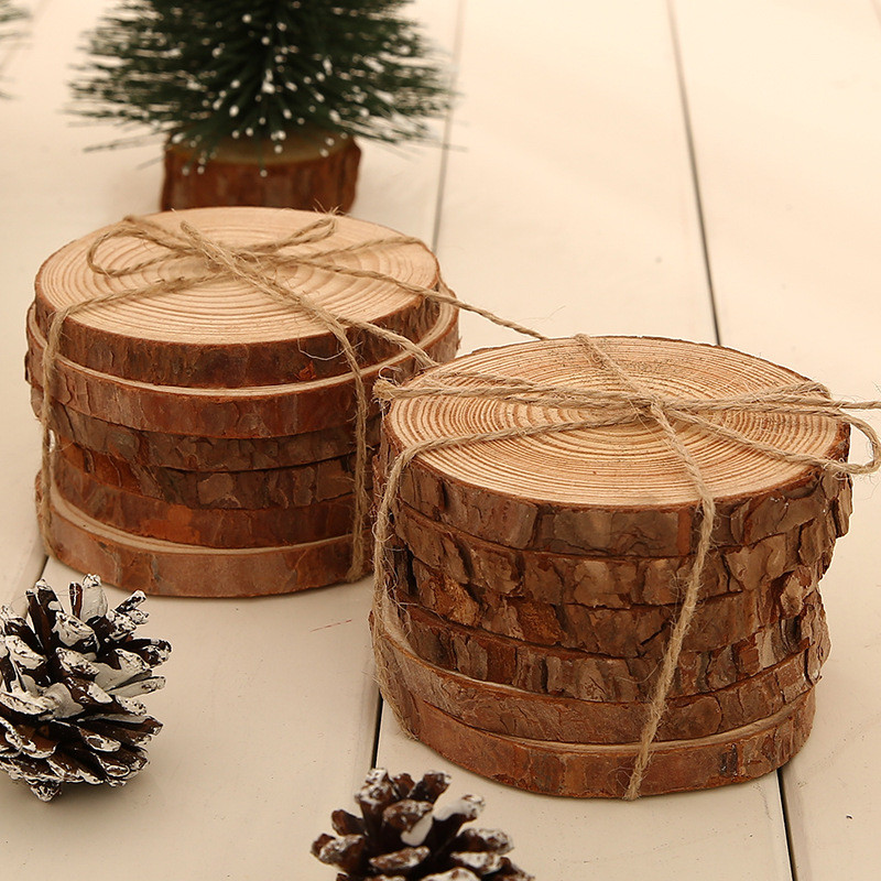 6pcs/lot Pine Wooden Chips Cut Pieces Wood Log Sheet Rustic Wedding Decor Party Centerpieces Vintage Country Style