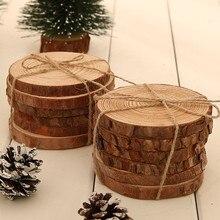 6 unids/lote de virutas de madera de pino, piezas cortadas, hoja de madera de registro, decoración para celebración de boda rústica, centros de mesa, estilo rural Vintage