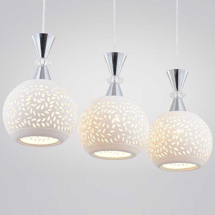 Round Hanging Light: Modern ceramic Hollow out restaurant Pendant Lights 3 heads Round Chrome  Dining Room Hanging lamp Bar,Lighting