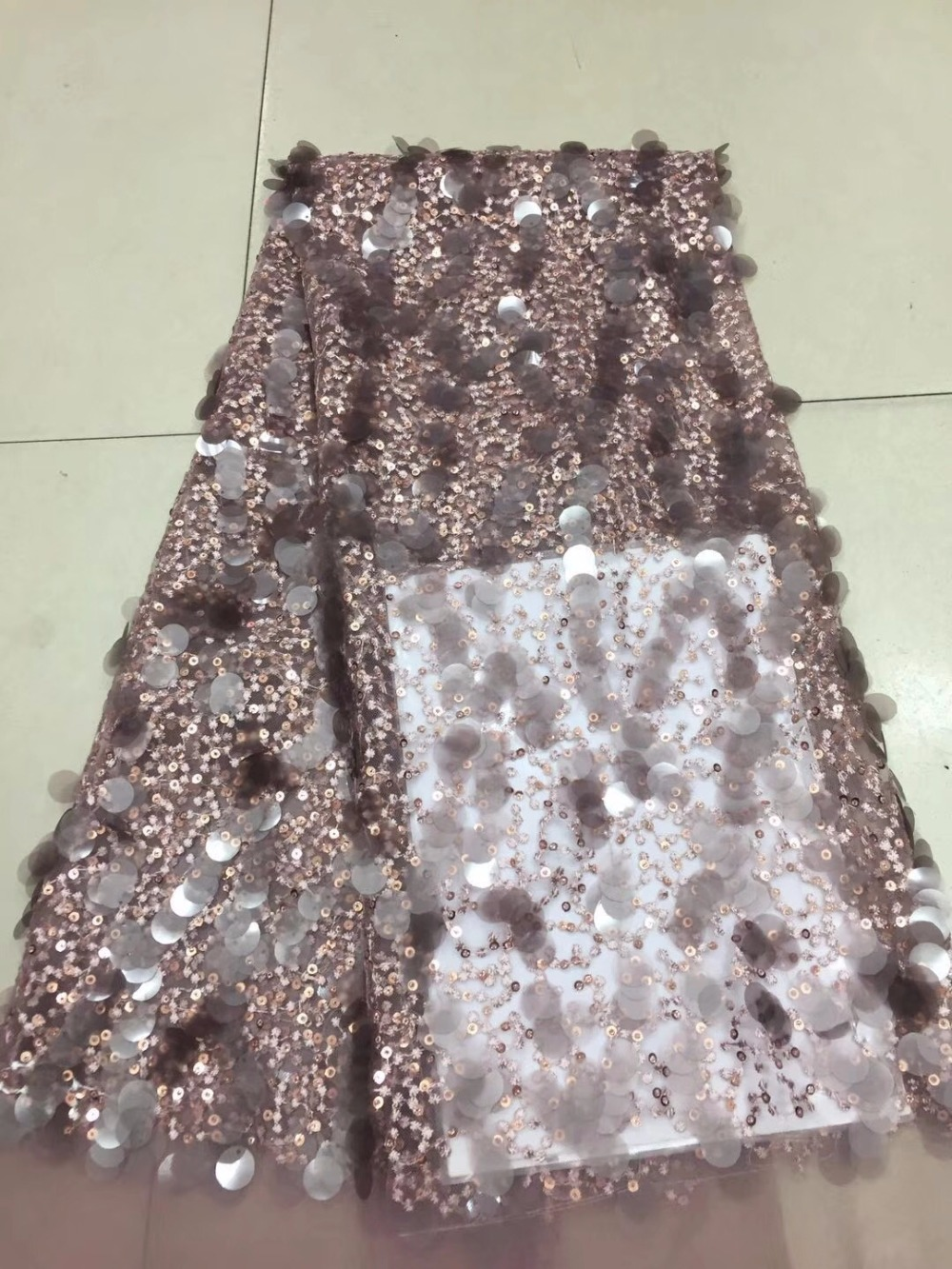 Nigerian Net Material French Lace Fabric, Bride Wedding African Sequins Lace Fabric High Quality