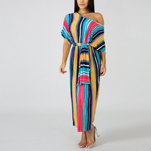 Women Striped Printed Dress Slash Neck Half Sleeve Loose Long Maxi Dresses Casual Women With Belted Dress half sleeve color block striped maxi dress