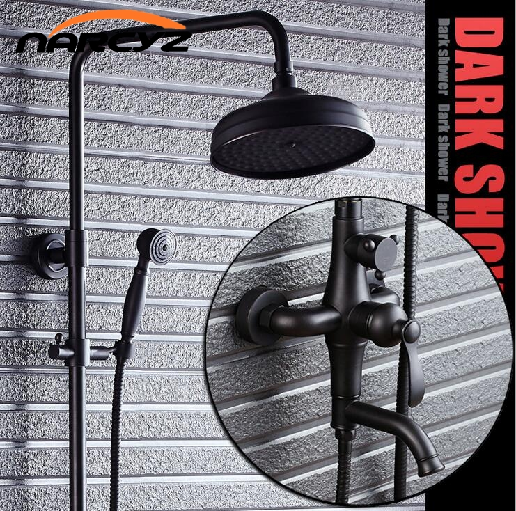 Black Bronze Rain Shower Set Retro American Wall Shower Set XT310