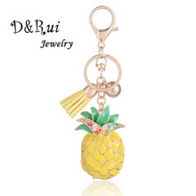 Yellow Pineapple Key Chain Cute Alloy Enamel Key Chains Rings Car Bag Pendant For Women Men Fruit Jewelry Accessories Gifts ainuoshi 10k solid yellow gold pendant exquisite key pendant sona diamond women men lovers jewelry shining key separate pendant