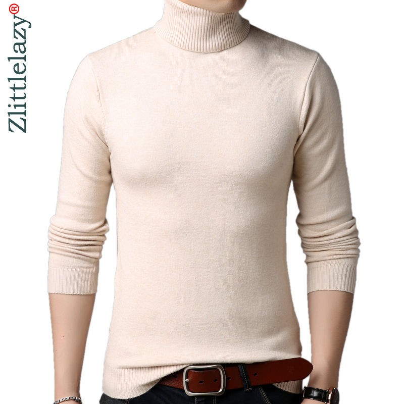 2019 Turtleneck Pullover Thick Warm Men Sweater Mens Jersey Knitted Sweaters Mens Wear Slim Fit Knitwear Fashion Clothing 52529