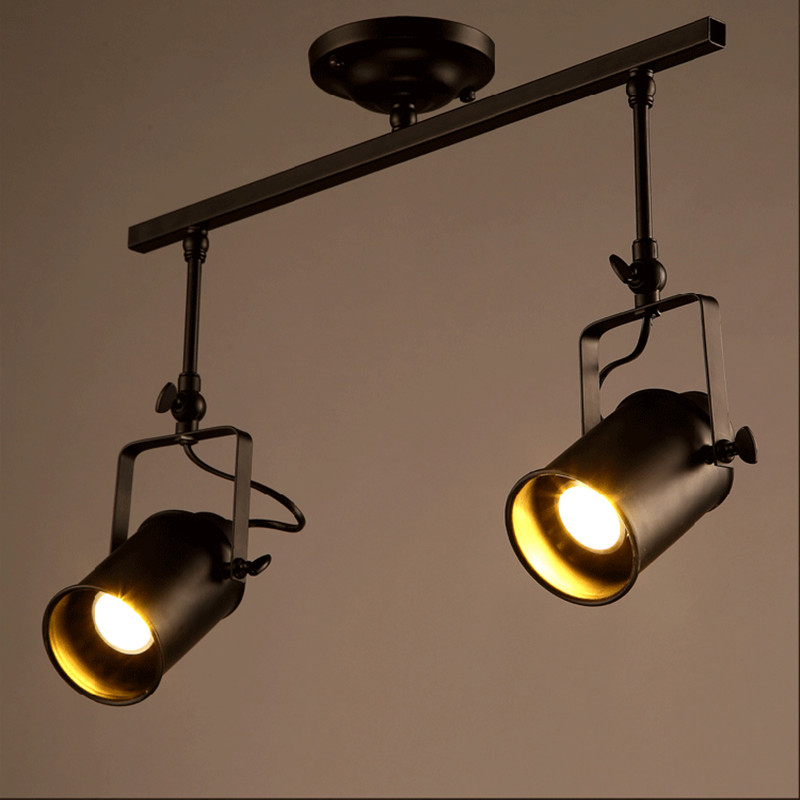 Retro Loft Vintage LED Track Light Industrial <font><b>Ceiling</b></font> Lamp Bar Clothing Personality spotlight Light Double Heads