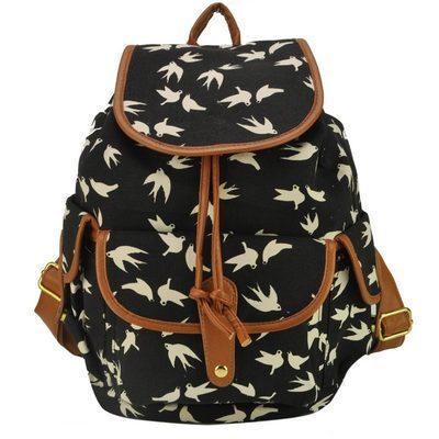 Canvas Women Bag Swallow Printing Backpack For Girl School Bags Women Backpacks Tide Satchel Mochila     W5045