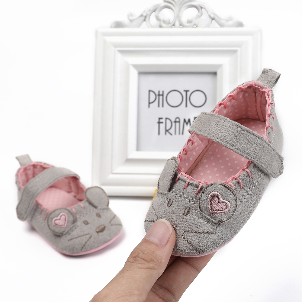 Newborn Baby Girl Shoes Cute Animal Princess Kid Anti-slip On Shoes 0-18 Months Toddler Crib Hook & Loop First Walkers