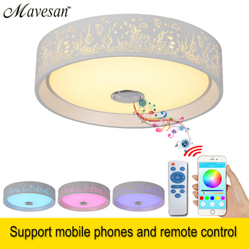 2019 Slaapkamer Muisc plafondlamp Bluetooth en afstandsbediening LED Smart plafond lamp metaal & Acryl lampenkap voor zitkamer
