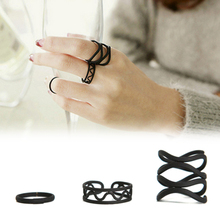 3PC /Set Fashion Open Ring Set Punk Black Middle Finger Knuckle Ring women girls finger rings set Party Adjustable Jewelry gifts