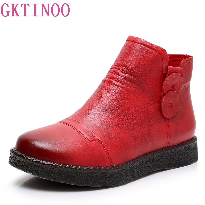 GKTINOO Genuine Leather Ankle Boots High Quality Fashion Women's Boots New Short Boot 2018 Autumn Winter Retr Flats Boots Women цена 2017