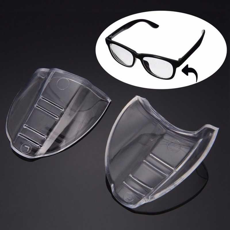2 adet/takım Güvenlik Gözlükleri Koruyucu Gözlük Gözlük Yan Kalkanlar Koruyucu toksik Olmayan Şeffaf Evrensel Esnek Yan Kalkanlar