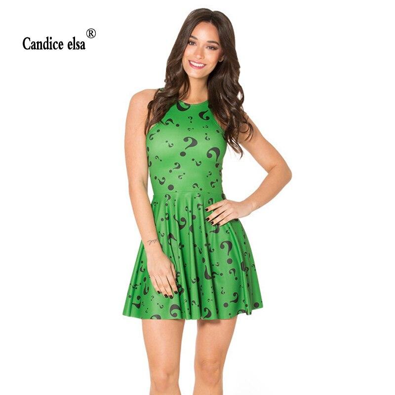 CANDICE ELSA woman dress digital printing wholesale green question mark pleated skd1089
