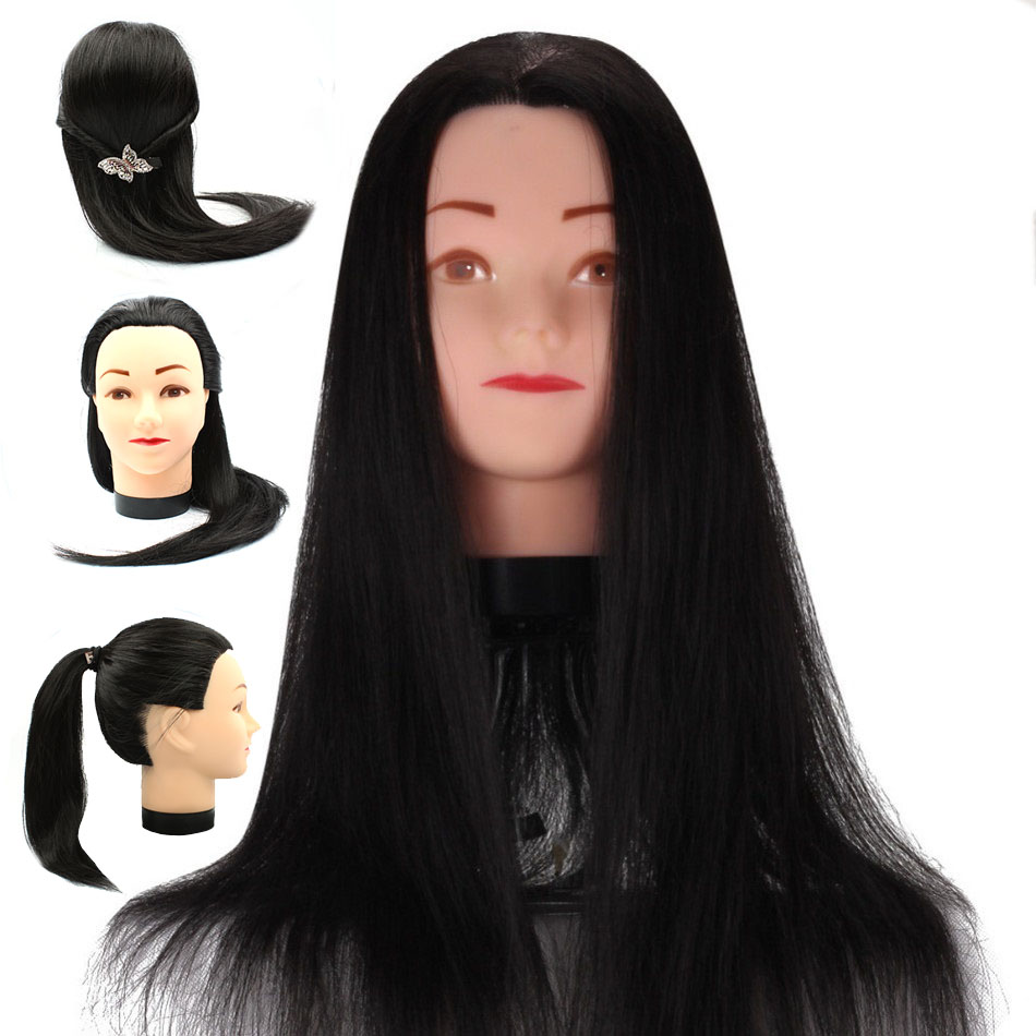 18inch Black Hair Mannequin Head Hairdressers Hair Styling Cosmetology Mannequins Training Wig Head