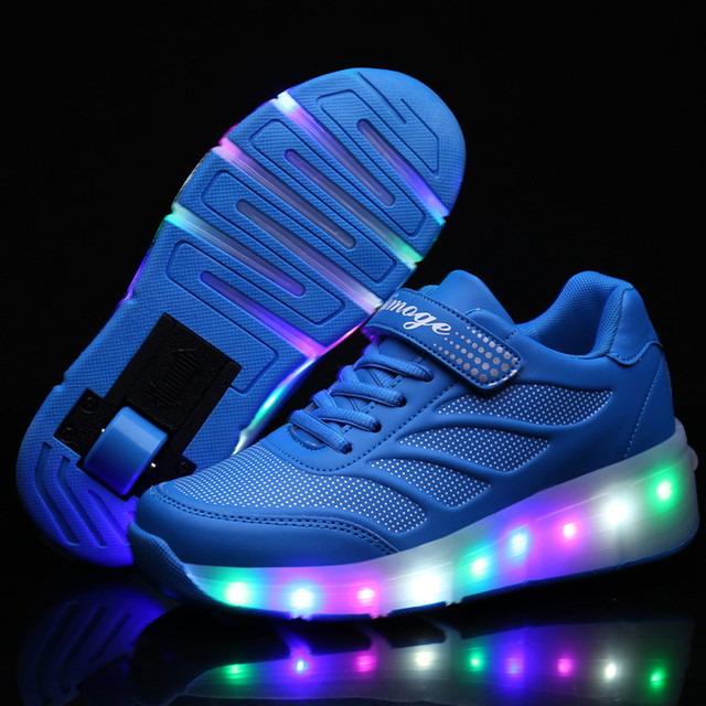High Quality Popular Kids Roller Shoes Boys Girls Light Up Glowing Sneakers with Wheels tenis de rodinha