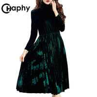 Elegant Height Waist Turtleneck Velvet Dress 2017 Europe A Line Pleated Velvet Dresses Long Sleeve Winter