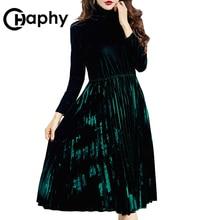 Elegant Height Waist Turtleneck Velvet Dress 2017 Europe  A-Line Pleated Dresses Long Sleeve Winter