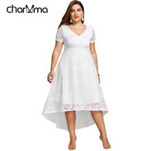 Summer Midi Dress Women Plus Size sundress Short Sleeves White black V-Neck Semi Formal Lace Party Dress robe femme Vestidos