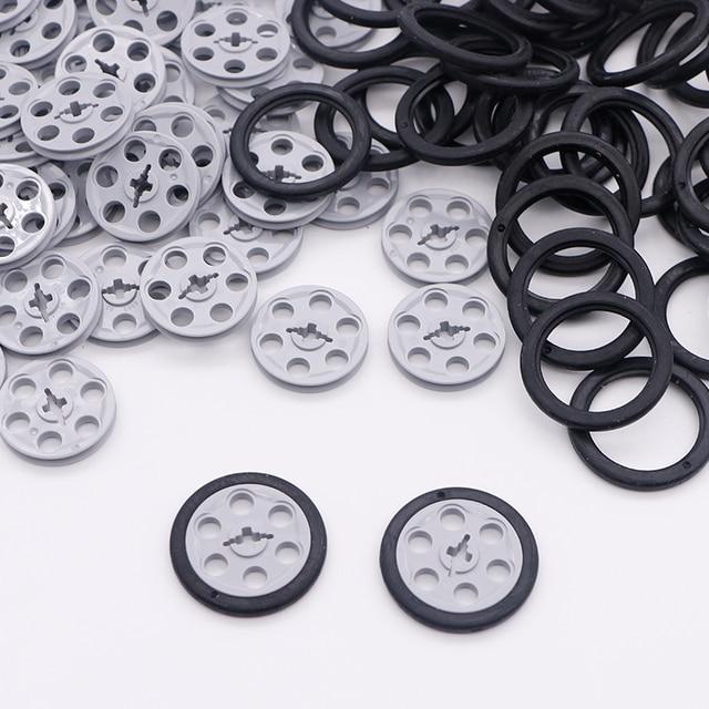 לבני טכני חלקי בתפזורת גלגלת כונן מדריך צמיגי טריז חגורת גלגלים כננות MOC אביזרי טכני אבני בניין צעצועים