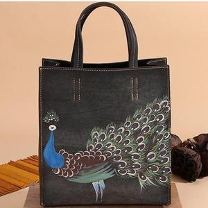 Image 5 - Johnature 2020 New Genuine Leather Casual Tote Vintage Animal Prints Zipper Hard Versatile Hand Painted Peacock Women Handbags