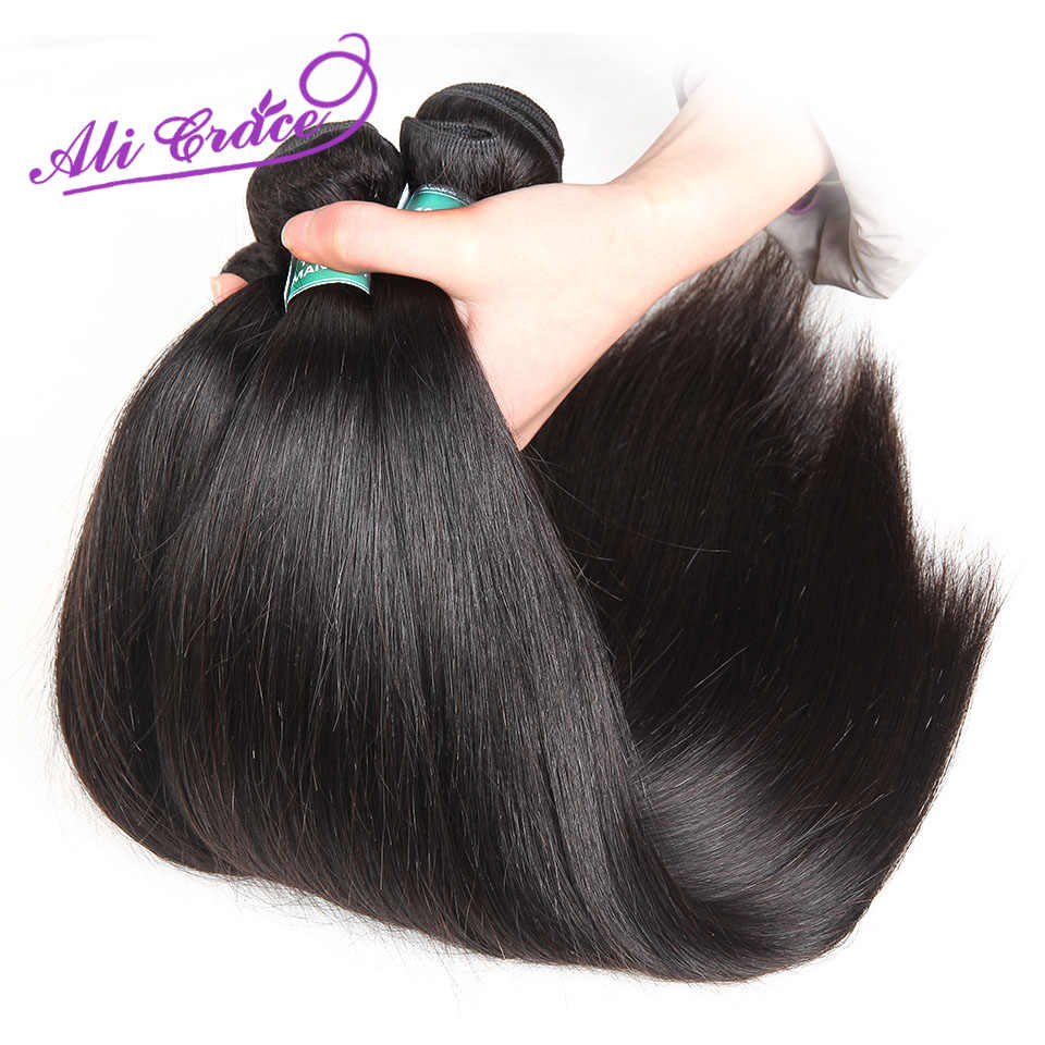 Ali Grace Peruvian Straight With Closure 100% Remy Human Hair 4 Bundles With 4*4 Free Middle Part Lace Closure Free Shipping