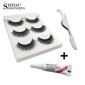 Eyelashes 3d mink lashes natural long make up false eyelashes 10mm eyelash glue makeup eye lashes tweezers 3d lashes maquiagem(China)
