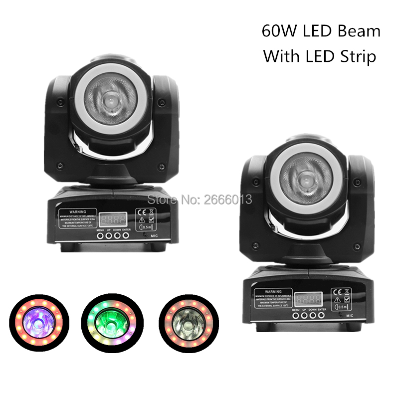 2pcs/lot RGBW 4IN1 60W LED Beam With RGB 3IN1 LED strips Wash Moving Head Light For Wedding Party Events/DJ Disco Stage Lighting цены