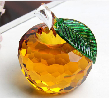 Colorful Crystal Apple Ornament Glass Crafts Home Decoration