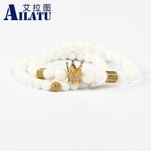 Image 1 - Ailatu מכירה לוהטת תכשיטים סיטונאי 10 סטי 8mm טבעי לבן אבן עם מיקרו פייב Cz כתר זוג צמיד