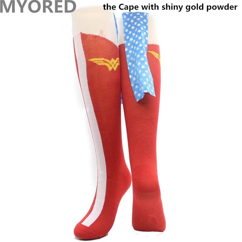 eb79e6c09 MYORED cartoon superman batman Cape Socks cotton knee high long sock men  women superheroes cloak sokken unisex halloween socks-in Men s Socks from  Underwear ...