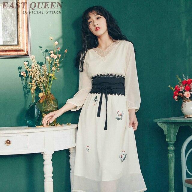 Midi Dress With Belt Lace Long Sleeve South Korea Clothing