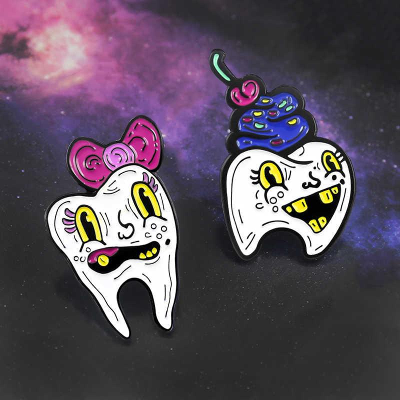 Gdhy Tooth Lucu Permen Gigi Bros Es Krim Permen Makan Permen dan Kerusakan Gigi Enamel Berwarna Merah Muda Biru Tombol Ransel perhiasan