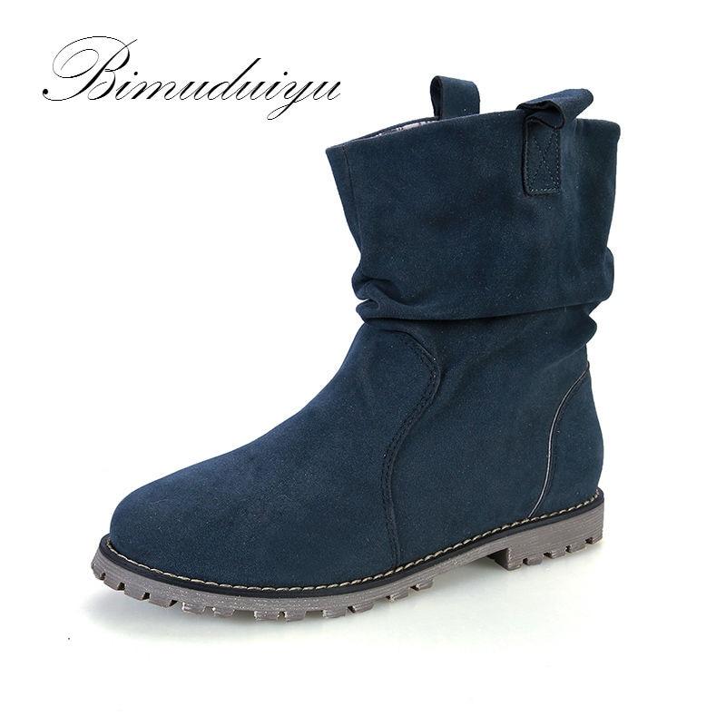 BIMUDUIYU New Trendy Spring Autumn Winter Flock Fashion Boots City Lady Ankle Flat Winter Boots Women Snow Boots Big Size 35-43