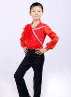 소년의 라틴어 댄스 셔츠 고전 라틴어 볼룸 탑 소년 댄스 착용 110-160 센치메터 도매 무료 배송
