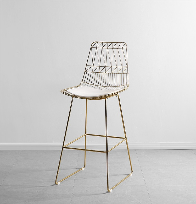 Seat Height 45/65/75CM Nordic Simple Wrought Iron Chair Modern Bar Wire High Chair Creative Metal Mesh Hollow Net Red Chair