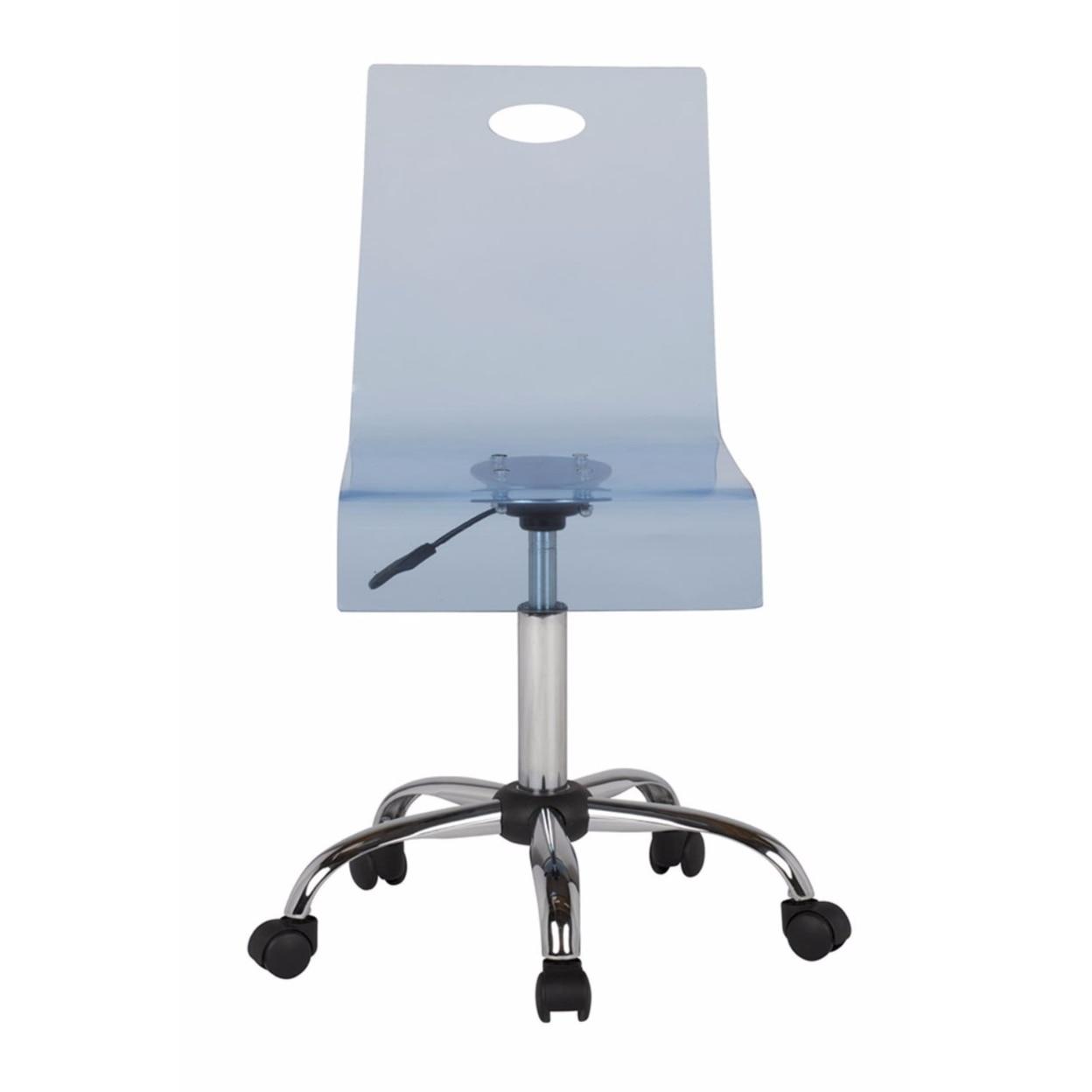 Offex Home Office Lucent Task Chair - Chrome/Indigo Blue