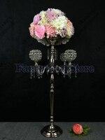 90 cm Tall 5-arms Srebrny świeczniki Stoiska Kwiatowe, Tabela tabela budynkiem świecznik świeczniki kandelabr