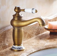 Retro Antique Brass Ceramic Lever Bathroom Faucet Washbasin Mixer Sink Tap Single Hole Deck Mounted Faucets