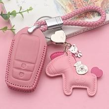 цена на Cute Pink Genuine Leather Car Key Cover Case For TOYOTA HIGHLANDER CAMRY RAV4 COROLLA PRADO CROWN C-HR Key fob Cover case Bag