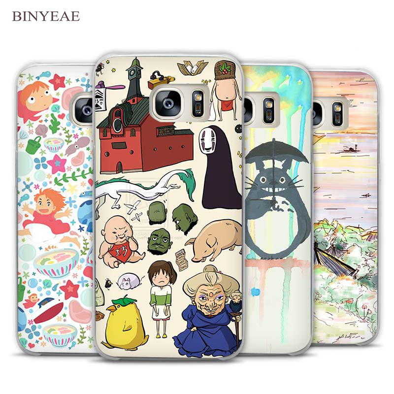 BINYEAE kawaii ghibli doodle Clear Phone Case Cover for Samsung Galaxy Note 2 3 4 5 7 S3 S4 S5 Mini S6 S7 S8 Edge Plus