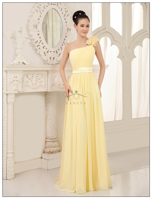 345268ff263 Zaneta Daffodil Pleated Floral One Shoulder Empire Floor Length Pastel Knee  Bridesmaid Dress 2015 For Adult