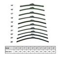 U-tipo Universal Macio Frameless Bracketless Borracha Car Windshield Wiper Blade 14 16-19 20-22 24 26 polegada Opção limpiaparabrisas