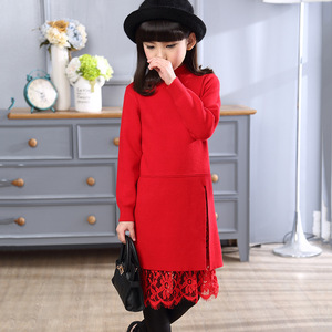Image 2 - New girl children winter sweater dress lace stitching split long turtleneck knitted kids girls long sleeves dress party clothes