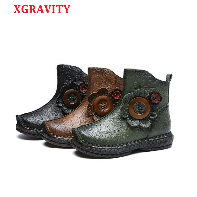 Elegant 2019 Fashion Ankle Boots Elegant Genuine Leather FLower Design Short Boots Fashion Casual Round Toe Shoes Girl Shoe C294 casual fashion women shoes elegant genuine leather flats ol flower design printing leather shoes famous brand girl shoes f002