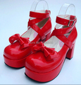 CDTS Popular lolita bow princess dress shoes high heeled red japanned leather party fashion black Cosplay pumps,plus size:35-44