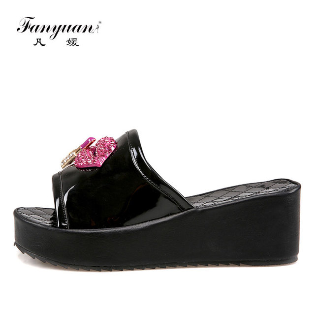142823261 Fanyuan Big Size Patent Leather Mujer Zapatos Summer Fancy ladies footwear  Diamond Crystal Flat Platform Zapatos Slippers