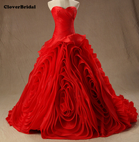 In Stock Organza Ball Gown Swirls Pleated Ruched Designer Real Photos Cheap Red Wedding Dresses Size