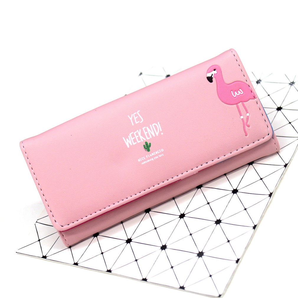 Fashion Women Wallets Long Style Multi-functional Wallet Purse Cartoon Flamingo Fresh PU leather Female Clutch Card Holder D25 все цены