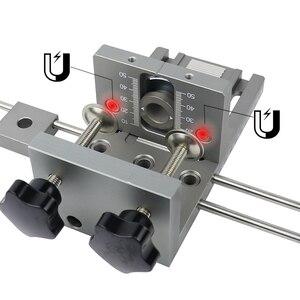 Image 3 - Localizador profesional de punzón de carpintería Plantilla de espigas de madera guía de perforación ajustable para muebles DIY herramientas de posición de conexión